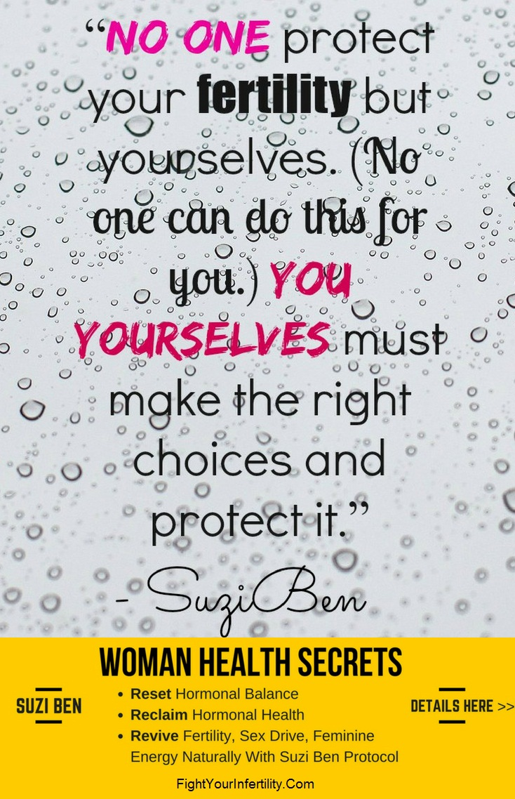 No one protect your fertility but yourselves. (No one can do this for you.) You yourselves must make the right choices and protect it.